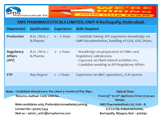 SMS Pharma | Walk-in interview for Production/RA on 5th-10th Apr 2021