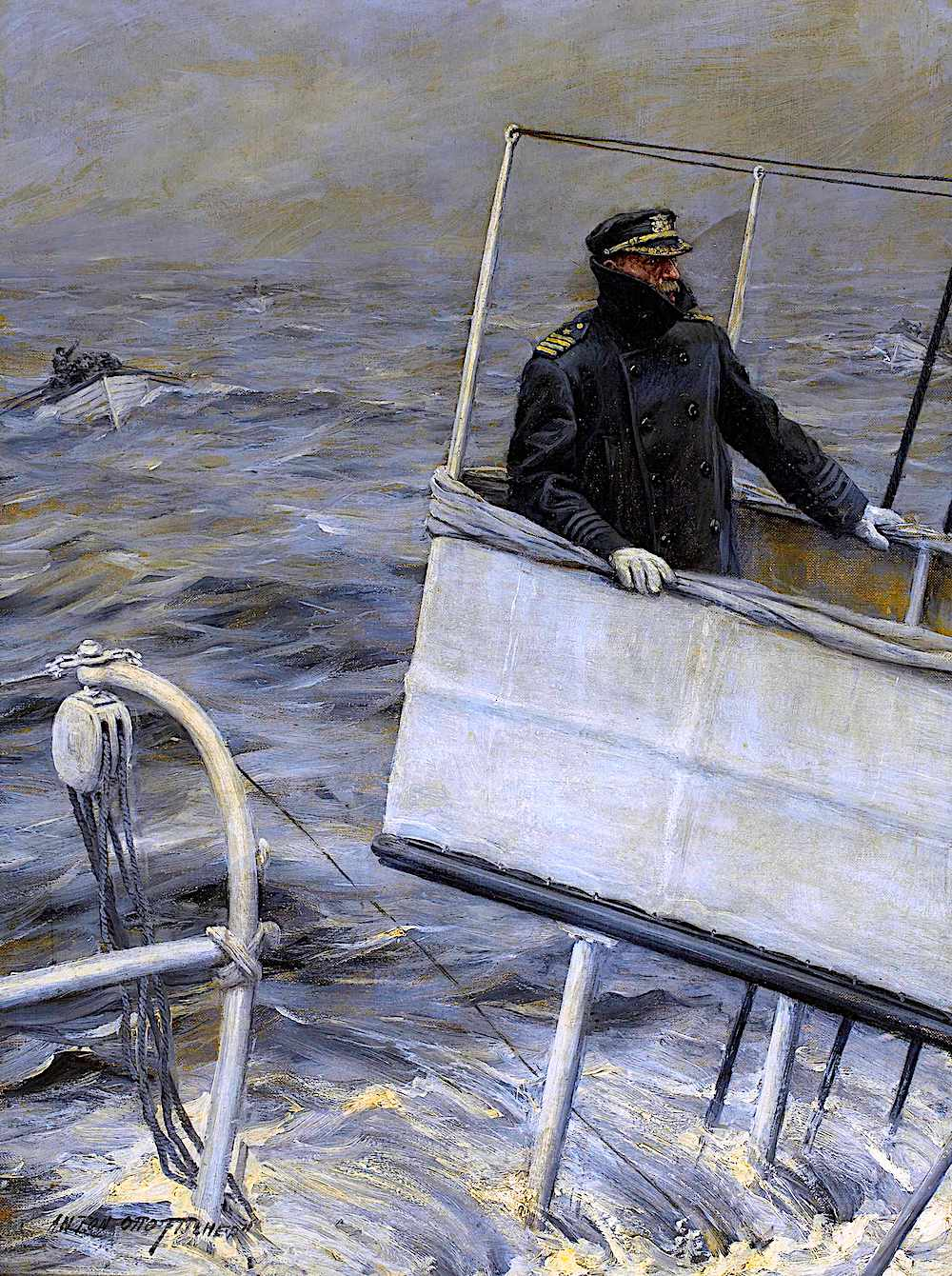 an Anton Otto Fischer illustration of a captain going down with his ship