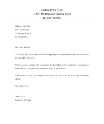 Rejection Letter Sample for Receptionist