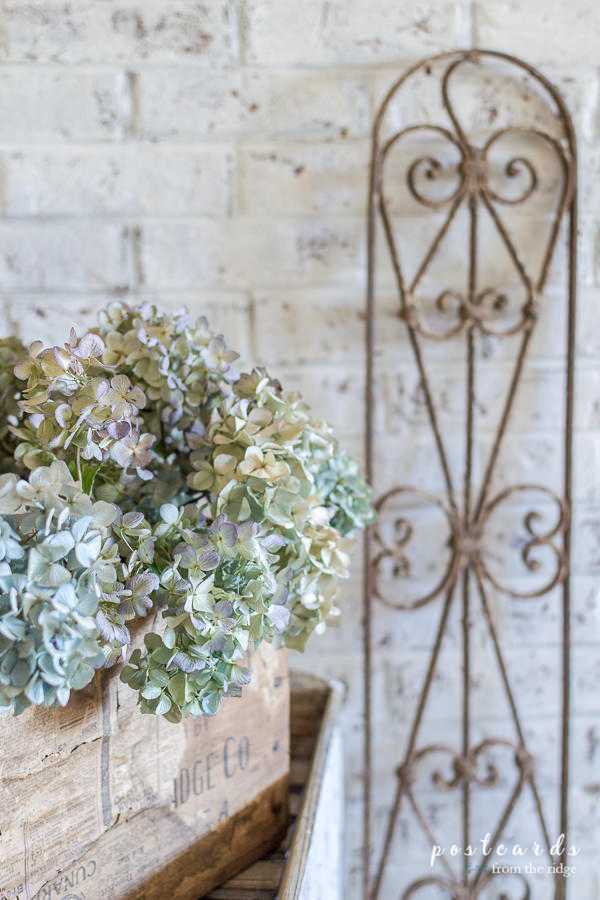 dried hydrangeas in a vintage wooden box