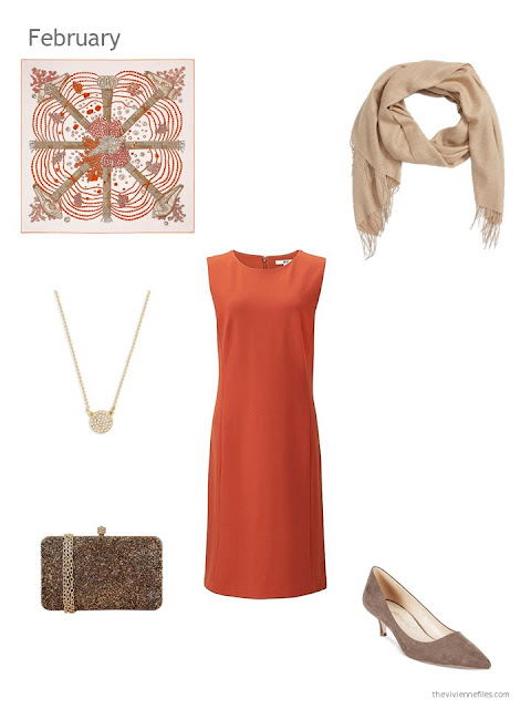 orange dress with gold, beige and brown accessories