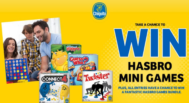 Chiquita Bananas and Hasbro want you to try daily for your chance to win Hasbro Mini Games or a fantastic Hasbro Games Bundle to keep the family fun going all winter long!