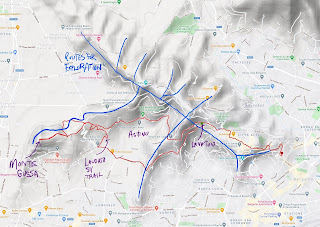 A depiction of the spines of the hills of Bergamo along with the tracks for today's walk.