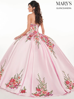 Pink/Multi Color Mary's Quinceanera Ball Gown Dress back side