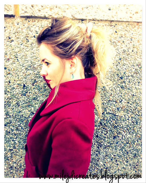 Burgundowy płaszczyk wiosenny z koła ze złotymi guzikami DIY // Spring burgundy coat with golden buttons Szycie ubrań
