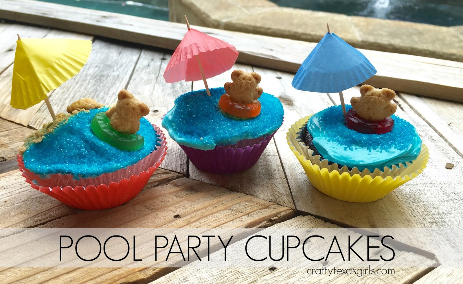 Crafty texas girls pool party cupcakes i used a box chocolate cake mix for the cupcakes and added an extra egg plus a teaspoon of vanilla it makes the mix taste more homemade sciox Choice Image