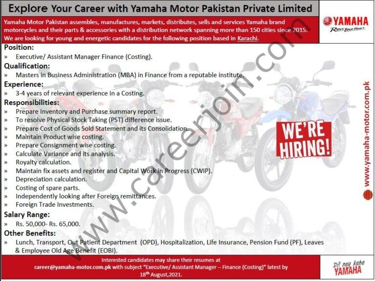 Yamaha Motor Pakistan Pvt Ltd Jobs Executive / Assistant Manager Finance
