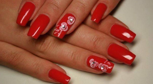 20 Diseños De Uñas De Color Rojo Con Flores ε Diseños De Uñas