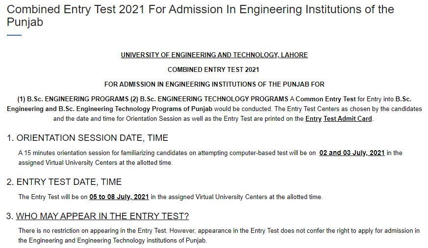 UET Announced New Entry Test Dates 2021 - ECAT 2021