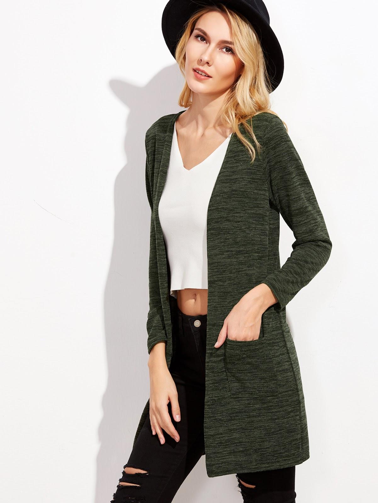 Dark Green Pockets Long Cardigan