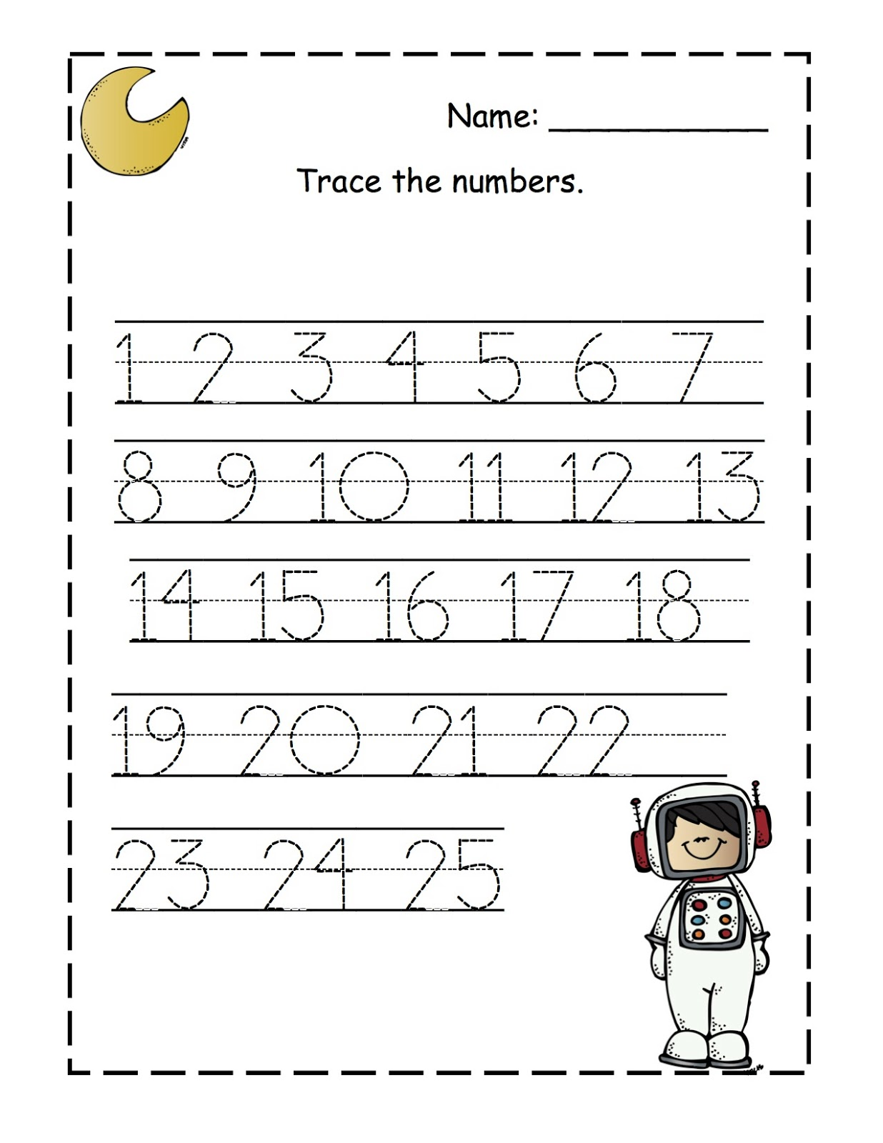 Printables Traceable Numbers Worksheets 1 20 Kigose