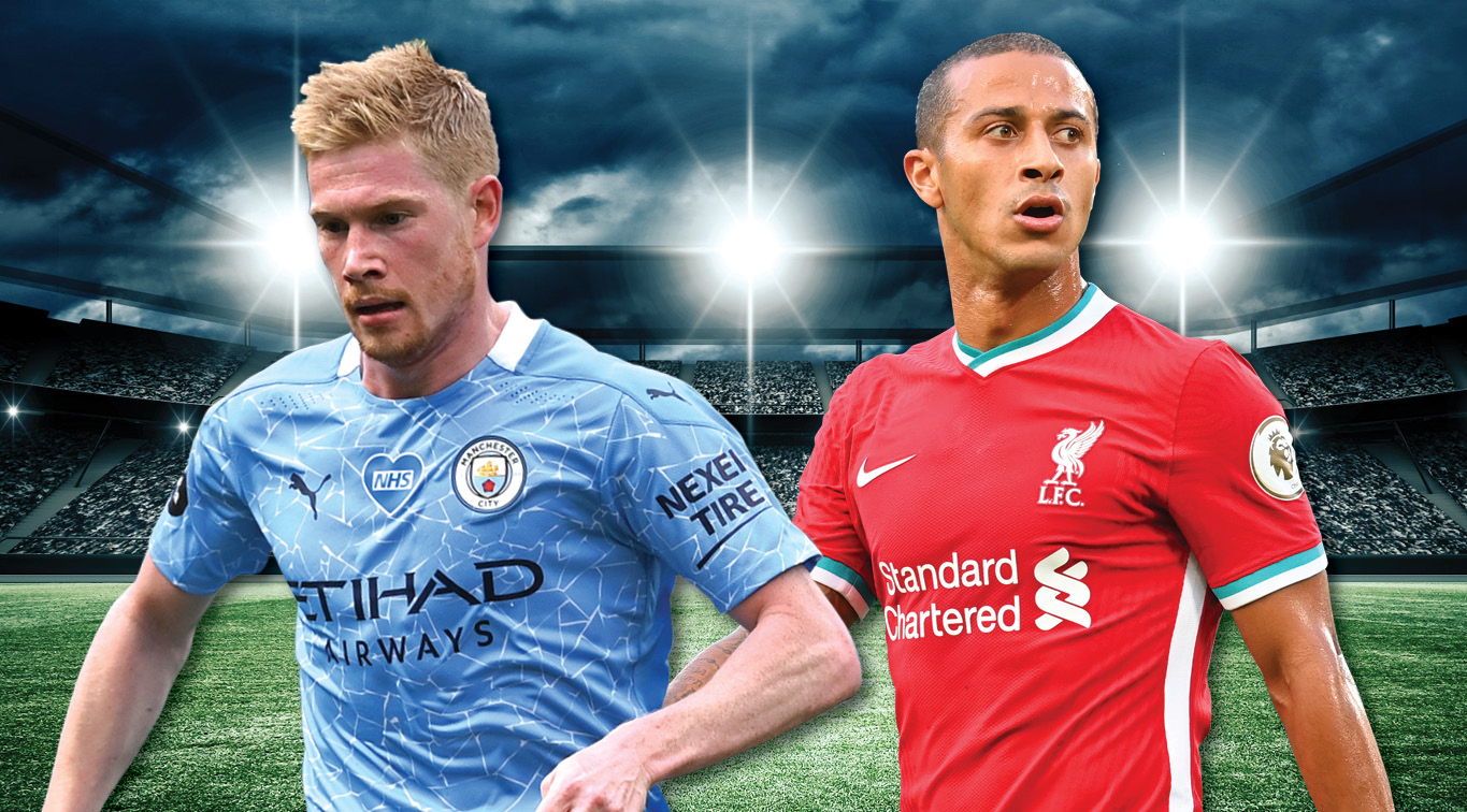 Kevin De Bruyne and Thiago are expected to pull the strings from midfield this Sunday