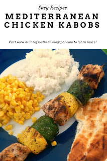Mediterranean Chicken Kabobs are a summer treat!  Bursting with flavors your crave for the rest of the summer! - Slice of Southern