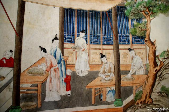 Particolare della carta da parati delle Sale Cinesi del Castello di Govone