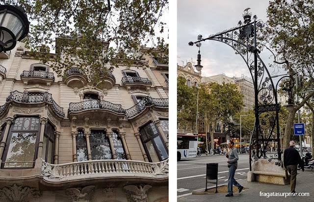Casa Malagrida e luminárias modernistas no Passeig de Gràcia, Barcelona