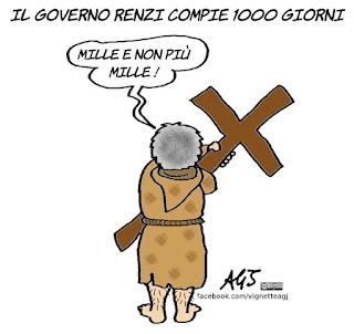 governo Renzi, 1000 giorni, riforme, 4 dicembre, referendum, vignetta, satira