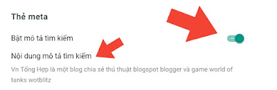 Bật thẻ meta blogspot