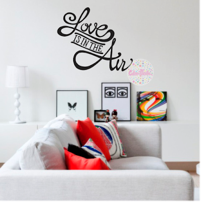 Vinilo decorativo pared frase love is in the air w93 cdm for Vinilos pared frases