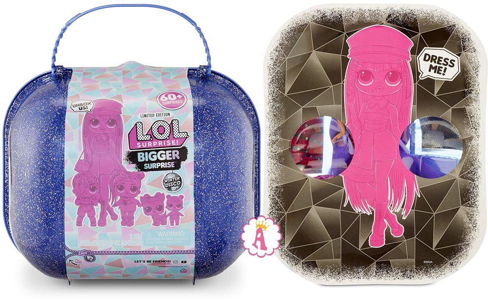 Большой синий чемодан Лол Сюрприз 60 сюрпризов Winter Disco