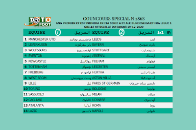 PRONOSTIC TOTOFOOT 14 Spécial N° 286S
