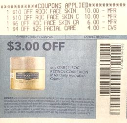 "$3.00/1 RoC Retinol Correxion Max Daily Hydration Anti-Aging Creme Retinol Correxion Max Daily Hydration Créme Coupon from ""RetailMeNot"" insert week of 6/14/20."