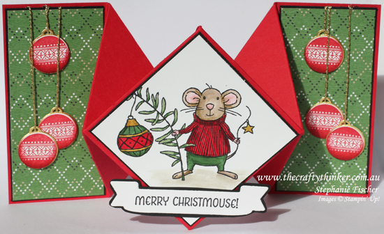 Stampin Up, #thecraftythinker, Christmas Card, Xmas, Merry Mice, Diamond Fold, Fun Fold, Stampin Up Australia Demonstrator