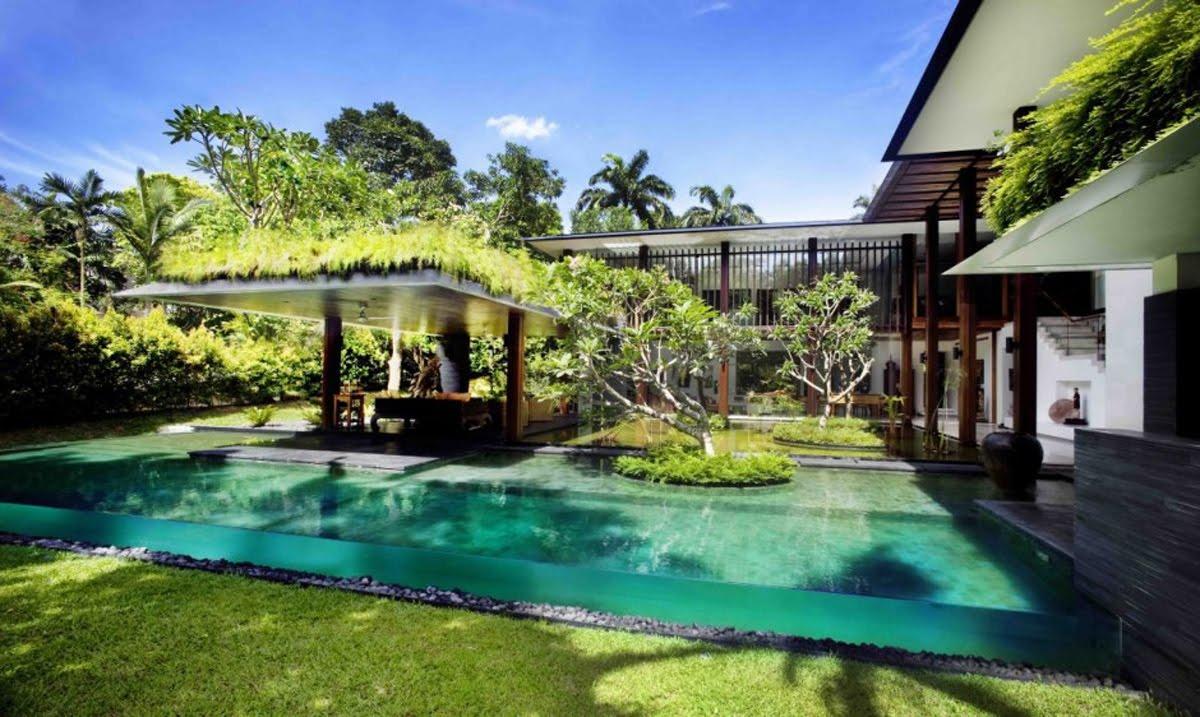 Modern dream house design with wonderful garden views the - Dream interpretation swimming pool ...