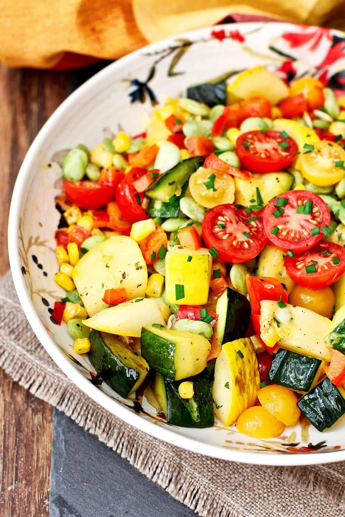 Summer squash succotash in a bowl.