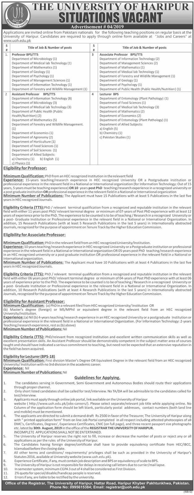 Advertisement for the University of Haripur Jobs