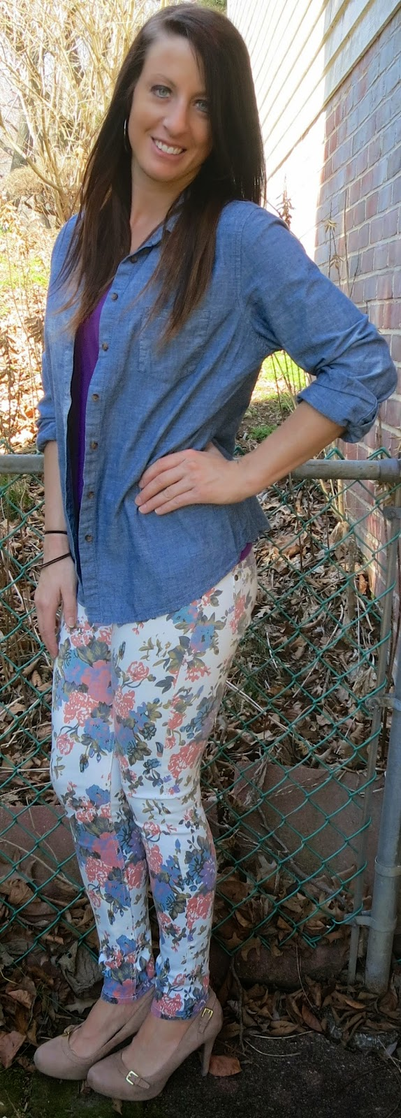 fashion, outfit, floral pants, floral, purple, chambray