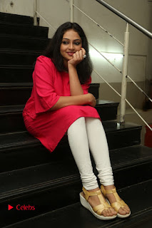 Actress Arundathi Nair Stills in Red Chididar at Bethaludu Success Meet  0116.JPG