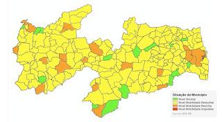 Paraíba tem 187 municípios na bandeira amarela, 12 na verde e nenhuma vermelha
