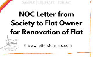 NOC Letter from Society to Flat Owner for Renovation of Flat