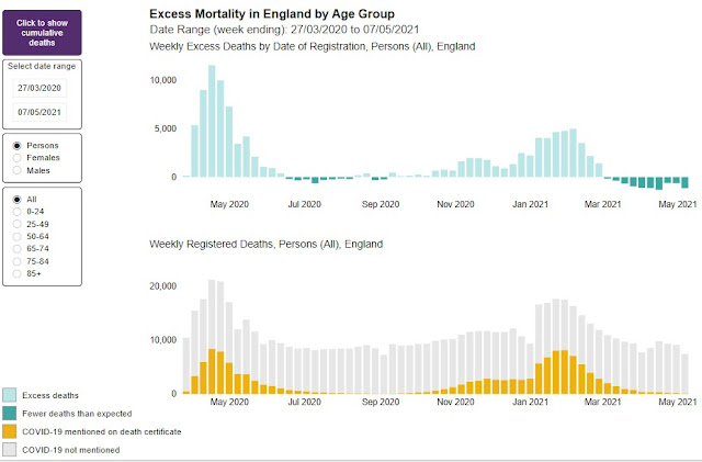 Excess mortality England May 2020 to present 200521 all age groups