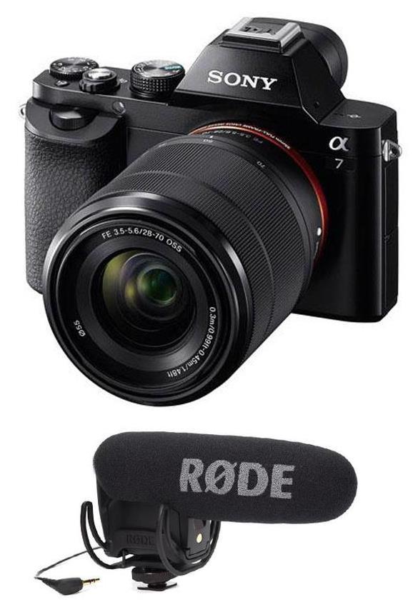 Sony A7 с объективом и микрофоном Røde VideoMic