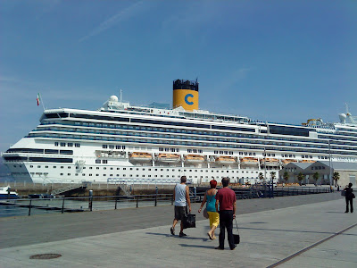 "The cruise ship ""Costa Pacifica"" is moored next to the Montero Rios's and Areal docks"