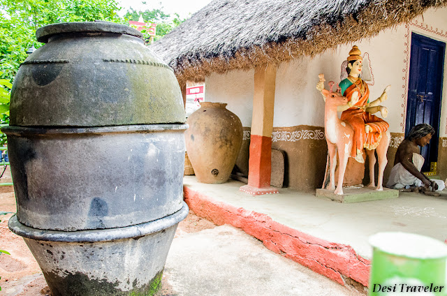 Clay urn Indian Village scene Shilparamam