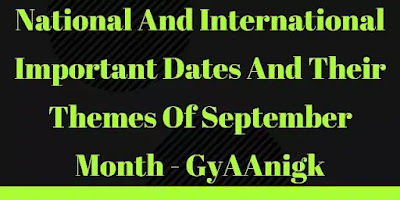 National And International Important Dates in September 2021 Pdf