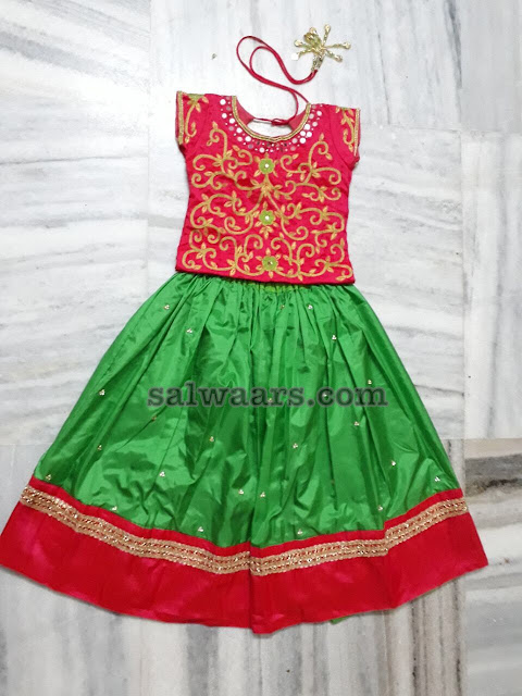 Green and Red Cute Lehenga