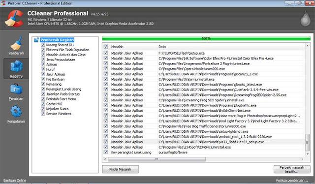 Cara Menghapus File Registry Dengan CCleaner