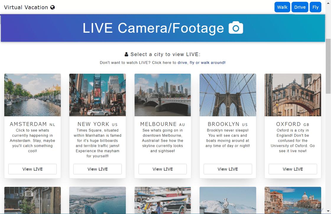 Virtual Vacation 以開車、行走、搭飛機視角觀看城市景觀