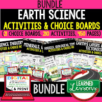 Earth Science Activities, Choice Boards, Digital Graphic Organizers