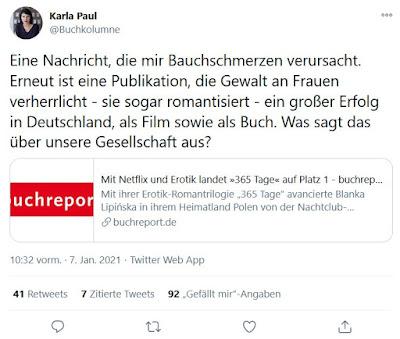 """Tweet von Karla Paul über das Buch """"365 Tage"""""""