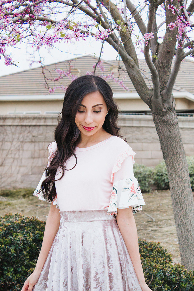 blush and floral flounce top refashion
