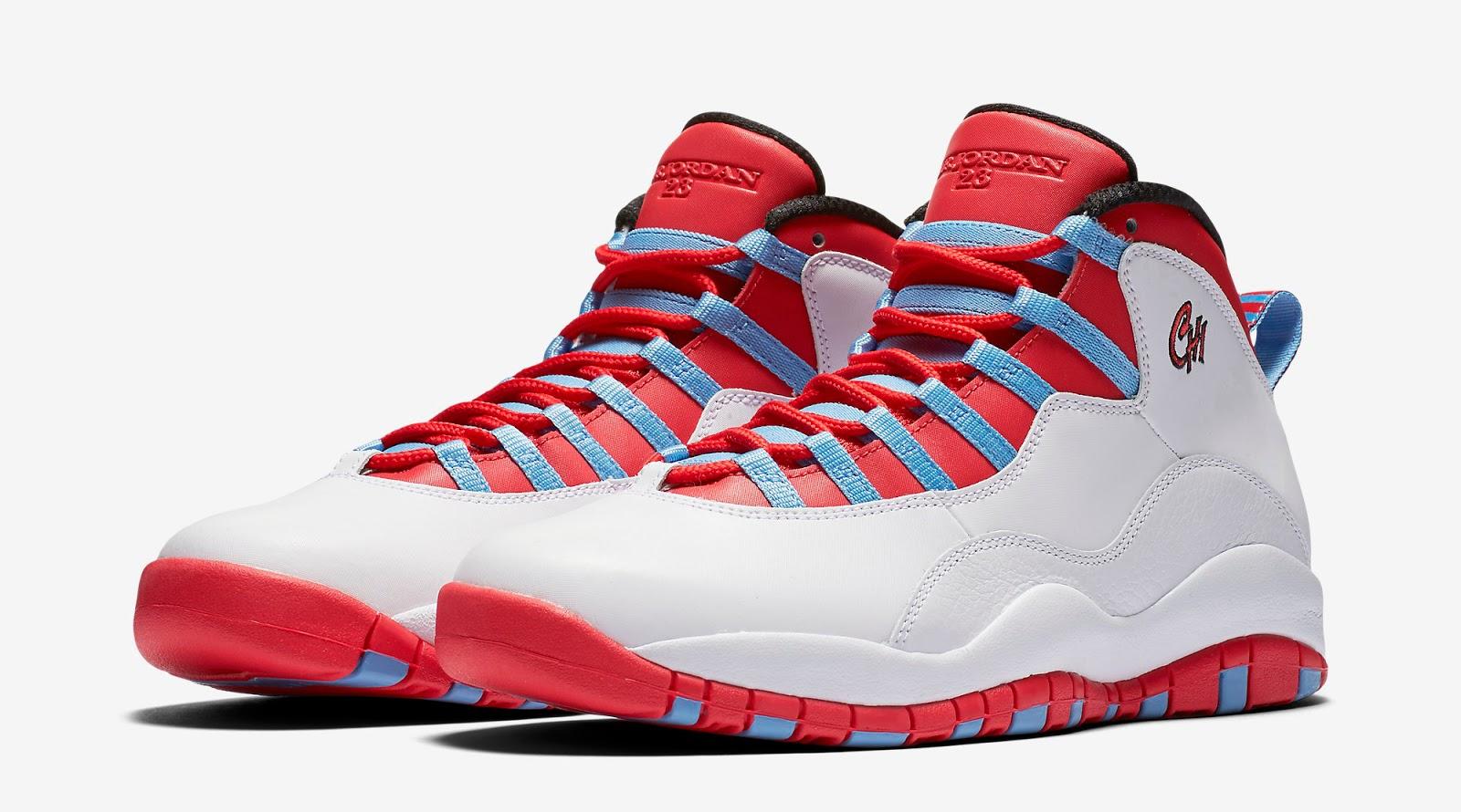Nike Air Jordan 10 Retro White/University Blue/Black/Light Crimson Mens Shoes