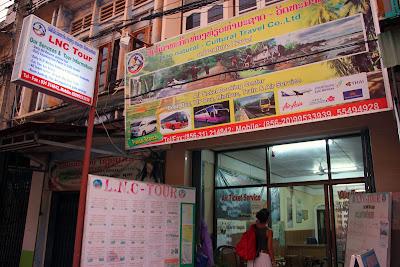 Travel Agencies on the main street of Pakse