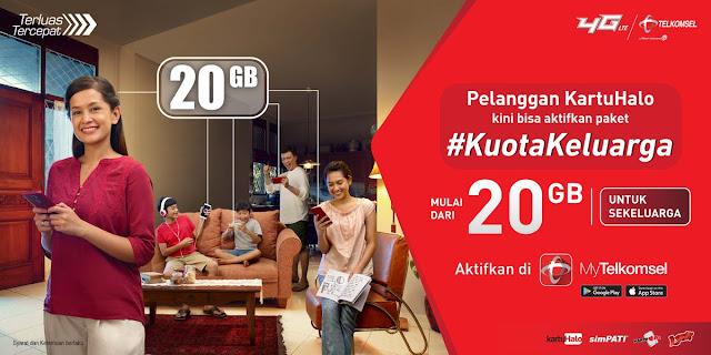 #Telkomsel - #Promo Paket Kuota Keluarga Mulai 20GB (Maks 6 Nomor Telp)