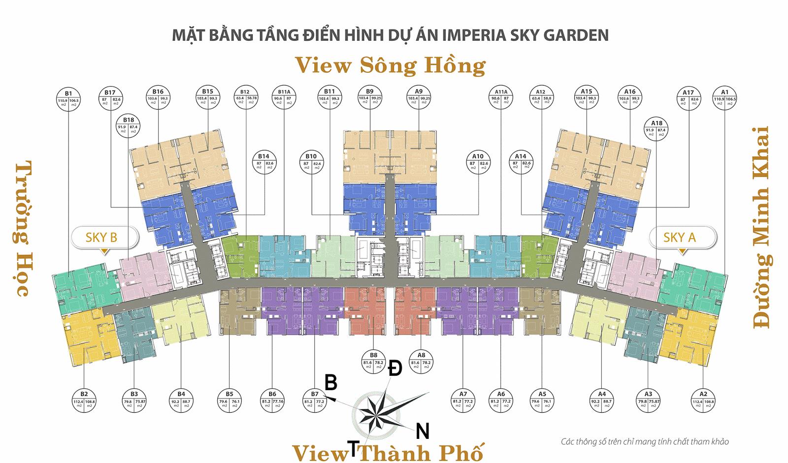 Mặt bằng thiết kế Imperia Sky Garden Minh Khai