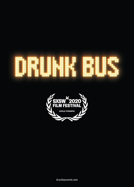 "Movie poster for the indie comedy film ""Drunk Bus"" (2020), starring Charlie Tahan. Kaya Hayward, Will Forte, Zach Cherry, and Pineapple Tangaroa"