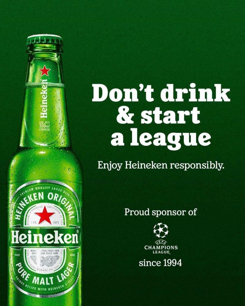 Heneiken: Don't drink & start a league